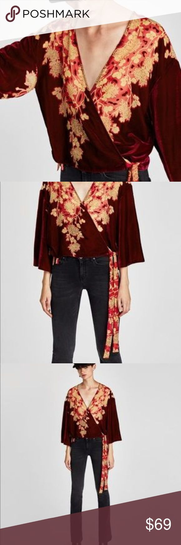 RVS Zara printed Kimono with velvet trims in wine Zara printed Kimono with velvet grins in deep burgundy wine color. Floral motif printed chiffon ties on the side. Wrap top Kimono that will work with denim or dress it up with a skirt for a night out.  Zara  Wrap Kimono  Velvet  Color Red/ burgundy/ wine Zara Tops Blouses