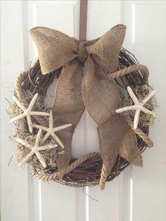 Burlap, rope, starfish summer beach wreath.  MLK