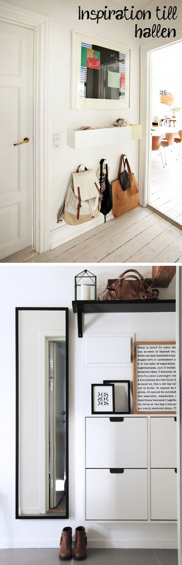 Low level bag and small person coat storage in the hallway