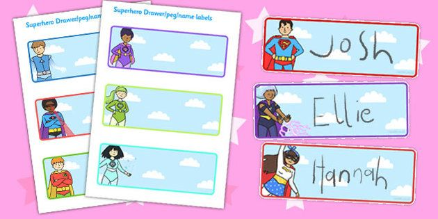 Editable Drawer Peg Name Labels Superhero