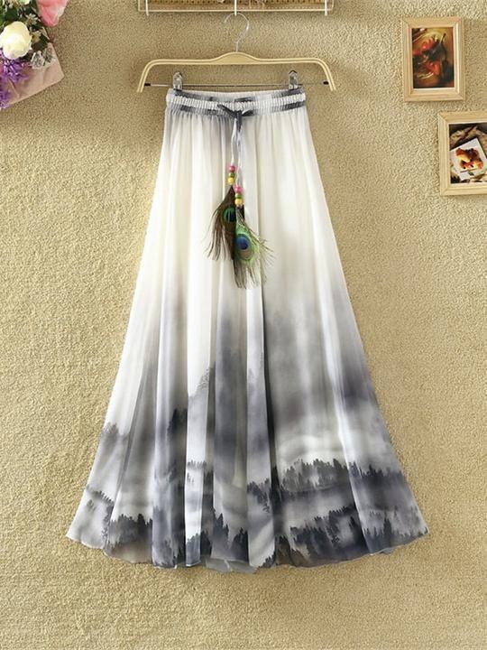 Print Floral Boho Style Long Skirt Huge Hem Chiffon Bohemian Skirt – 3