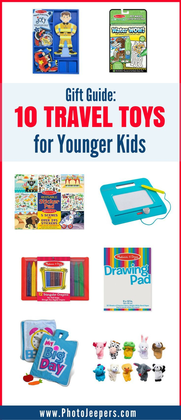 Are you looking for the perfect gifts for kids who travel? We will share our favorite travel toys for younger kids to help keep them distracted and happy on long trips. If you're planning a road trip for the holidays, you'll want to grab these fun travel toys and travel activities for a road trip with kids before you leave. Make sure you save this to your travel or Christmas board so you can grab these gifts for your kids!  #giftguide #traveltoys #giftidea