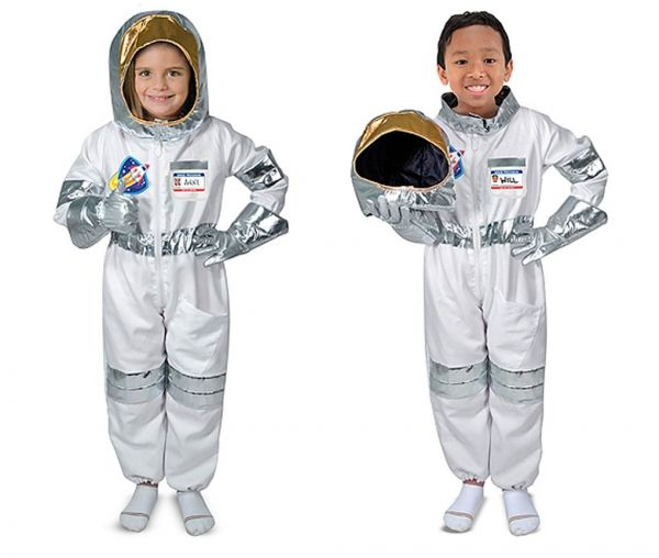 Melissa & Doug Astronaut Role Play Costume Set - fits children 3-6 years  Perfect for Boy or Girl!  Houston, we have a costume.  Kids will be over the moon when they get to step into the jumpsuit, slip on the stretchy silver gloves, and top it all off with the shiny helmet! There's even a reusable name tag that proudly IDs your little space explorer, then wipes clean so another astronaut can have a turn.