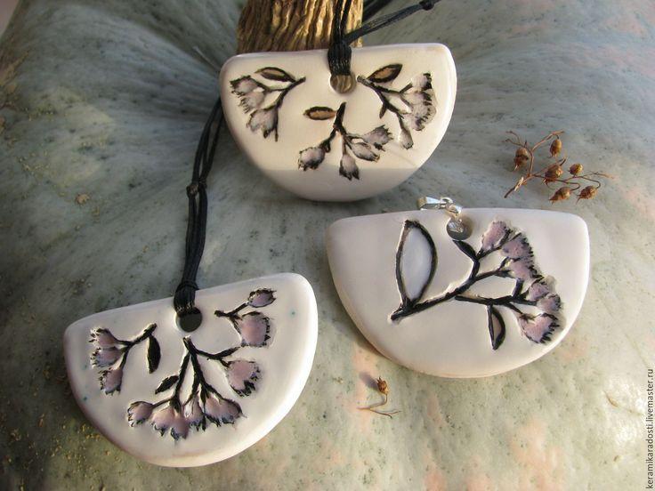 """Купить Кулон керамический """"Летний"""" - белый, розовый, чёрно-белый, аромакулон, керамический кулон"""