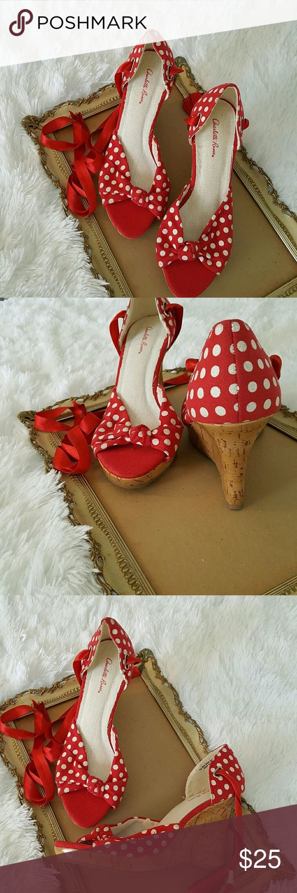 Red and White Peep Toe Espadrilles Charlotte Rouse Red and White Polka Dot Peep Toe Espadrilles with red satin laces and 4 inch glossy faux cork wedge. Charlotte Russe Shoes Espadrilles