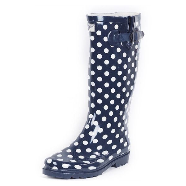 Women's Forever young Polka dot RAIN boots 6 HU ($30) ❤ liked on Polyvore featuring shoes, boots, blue, boots & booties, polka dot boots, polka dot rubber boots, wellies boots, blue boots and blue polka dot shoes