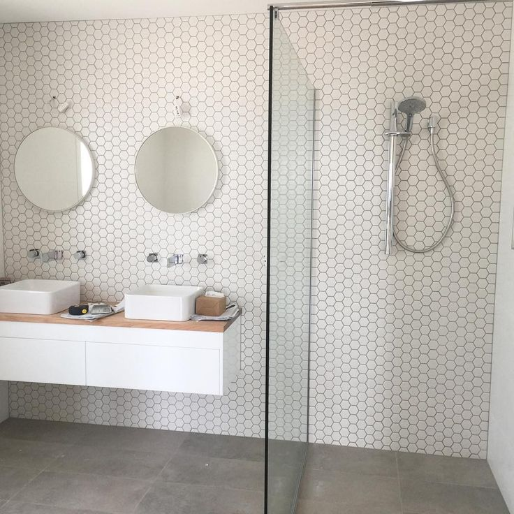 "narrow double sink 59 Likes, 8 Comments - Gerard's Tiling (@gerardstiling) on Instagram: ""Modern Scandinavian Bathroom ✖️White hexagon sheets and slate grey floor tiles ✖️"""