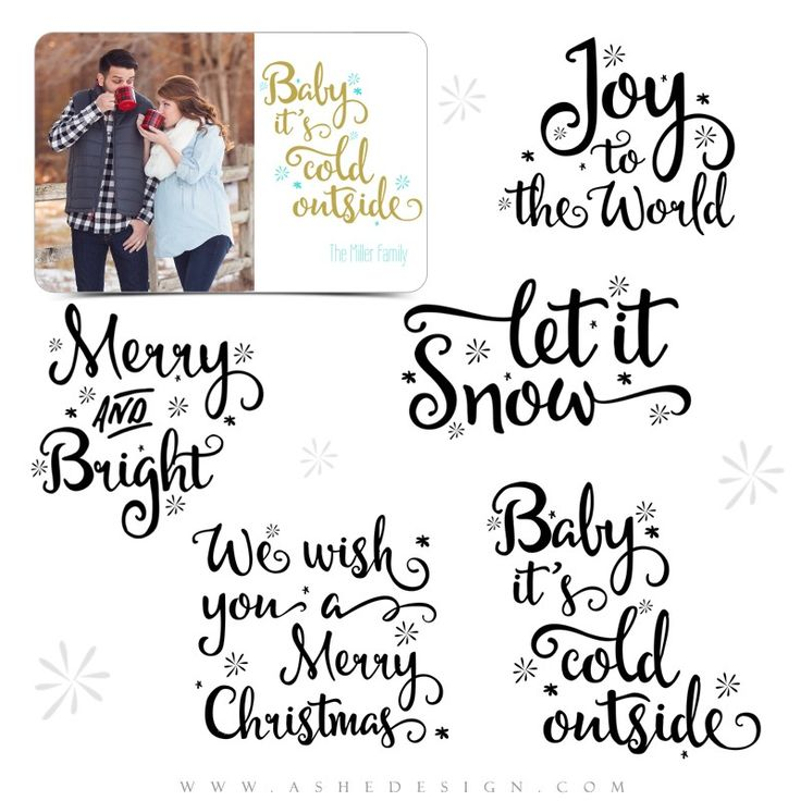 Ashe Design | Christmas Word Art Overlays Set | Let It Snow. Each of these photography word art stamps comes as a .png file, which can quickly and easily be applied over any of your digital images or templates.