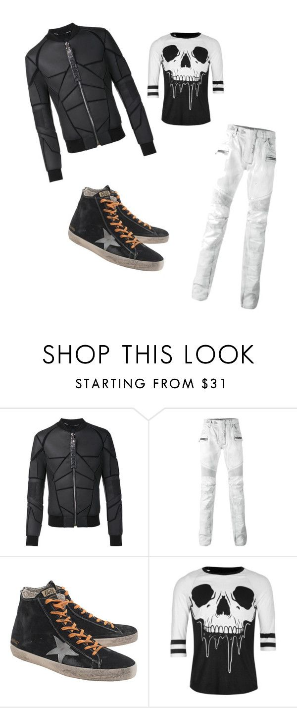 walking on de moon by francescox on Polyvore featuring Iron Fist, Balmain, Philipp Plein, Golden Goose, men's fashion and menswear