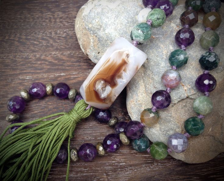 PURPLE RAIN Mala Bead Necklace Hand Knotted Mala Beads by FTSoul