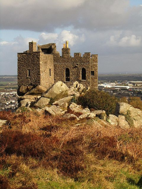 14th century Carn Brea Castle in Cornwall, England, now a beautiful restaurant