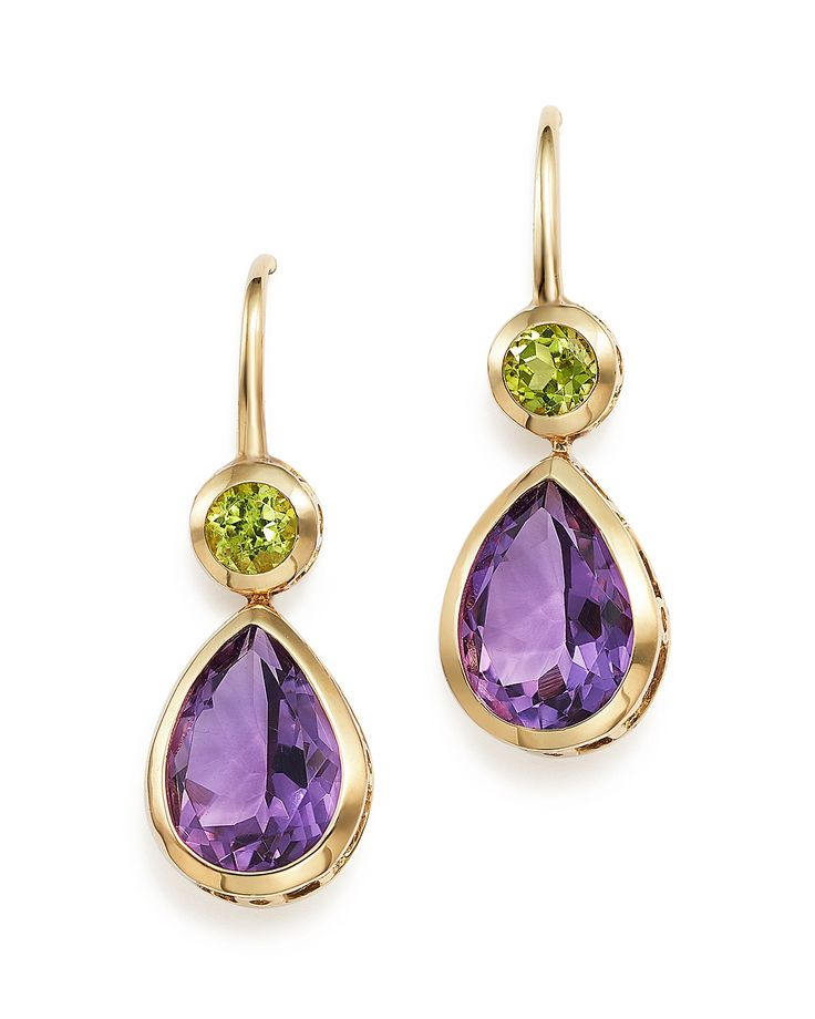 Amethyst and Peridot Drop Earrings in 14K Yellow Gold