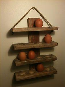 reclaimed pallet wood wooden egg holder / rack wall hanging.