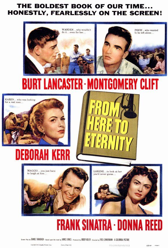 Burt Lancaster, Deborah Kerr, Montgomery Clift in From Here to Eternity,1953