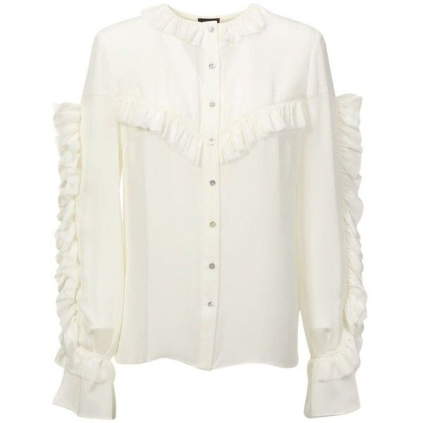 Magda Butrym Bruges Top (£515) ❤ liked on Polyvore featuring tops, cream, cream long sleeve top, cream top, white top, white frilly top and long sleeve tops