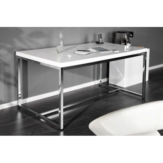 WHITE DESK   design desk 140cm white high gloss chrome base home office  table. 33 best Desks images on Pinterest