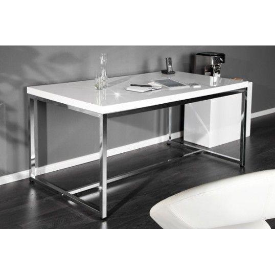white desk design desk 140cm white high gloss chrome base home office table - Home Office Desk Designs