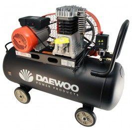 Compresor de aire Daewoo con diferentes tanques (100 o 300 litros), caudales (250 o 600 l/min) y tipo de alimentación (monofásica o trifásica).