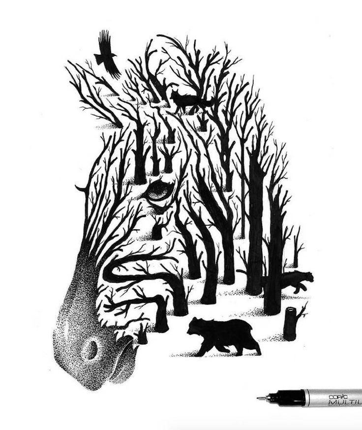 Thiago Bianchini est un illustrateur inspiré par la force de la Nature et la poésie dont elle peut faire preuve. Il est l'auteur de magnifiques illustrations monochromes, réalisées au stylo à pointe fine noir. Il y représente des animaux avec un effet de double exposition, technique que l'on peut observer en photographie. Des travaux poétiques et féériques qui rendent un bel hommage à la Nature.