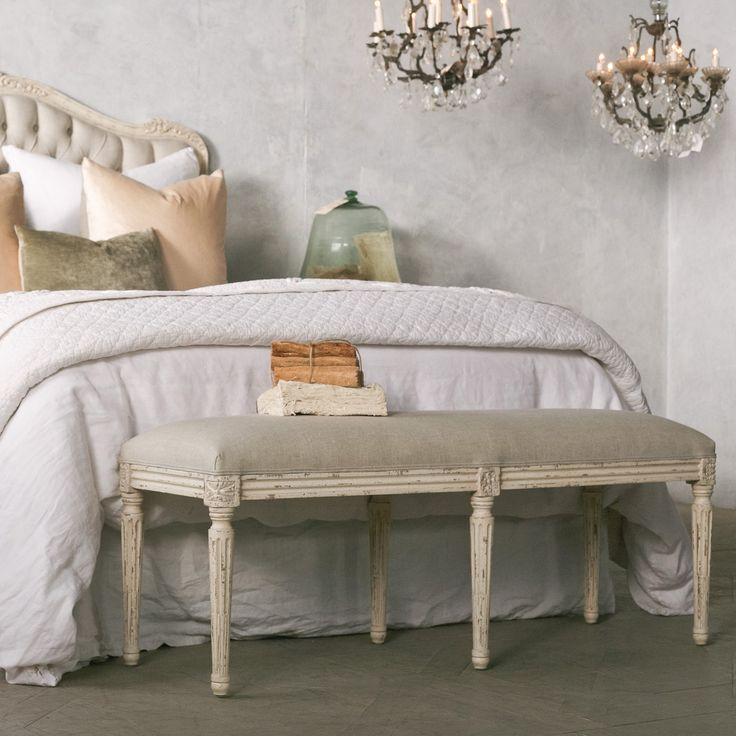 Superb Eloquence Boudoir Weathered White Bench @LaylaGrayce