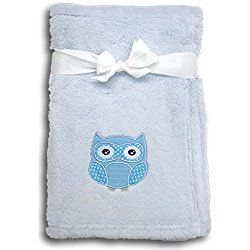 Best Blue Owl Plush Embroidered Newborn Baby's First Blanket Custom Personalized Special Christmas Stocking Stuffer Gift Idea Boy Girl Child Twins