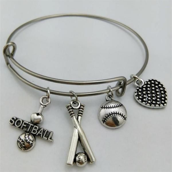 Stainless Steel Baseball & Softball Charms Bangle