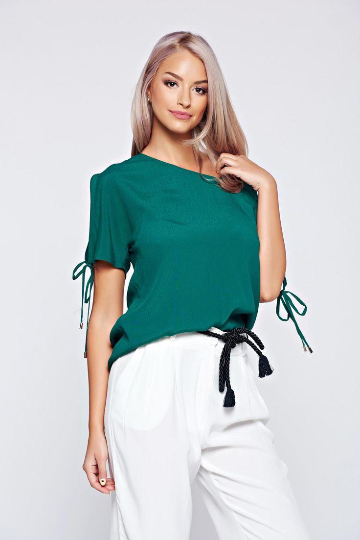 Comanda online, Bluza dama Top Secret verde cu croi larg cu maneca scurta. Articole masurate, calitate garantata!