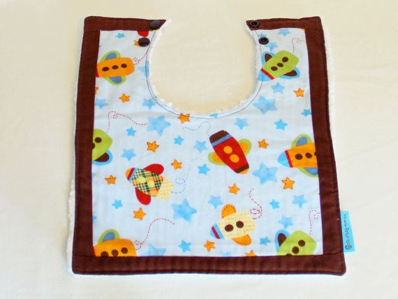 Boutique Bib  Rocket Ships with border. Large by OneCrazyMumma