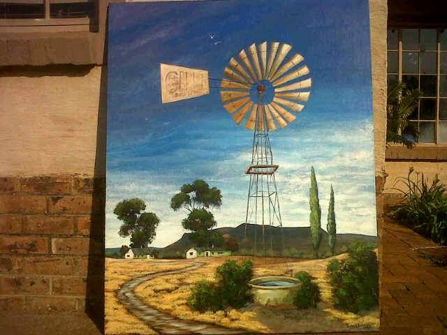 """Just completed landscape done by owner Susan Valentine, waiting to dry to hang on to the wall in the dining room at African Silhouette Guesthouse (only 24 hours in the house and was sold) Time to do another landscape with """"windpomp en plaasdam"""" (wind pump and old farm cement dam)"""
