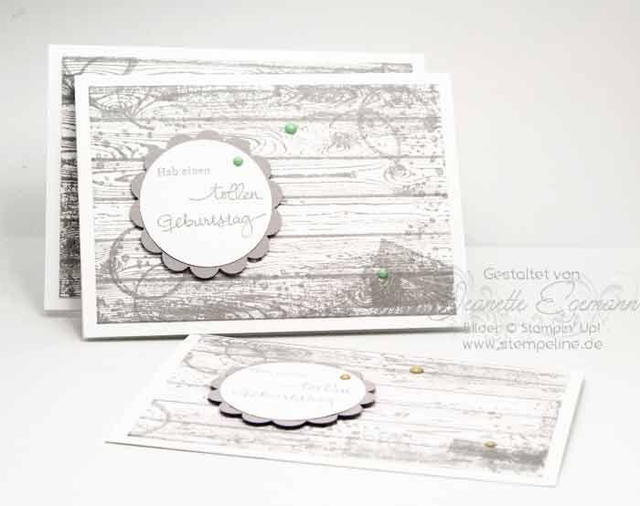 Männerkarten mit Timeless Textures, Hardwood und Geburtstagspuzzle von Stampin Up  #gvachieversbloghop  #stampinup