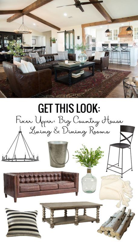 Remodelaholic | Get This Look: Fixer Upper Big Country House Living & Dining Rooms