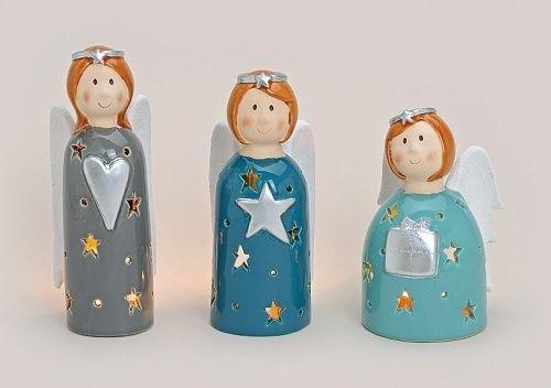 Engel Windlicht set van 3 stuks www.troostkaarten.nl