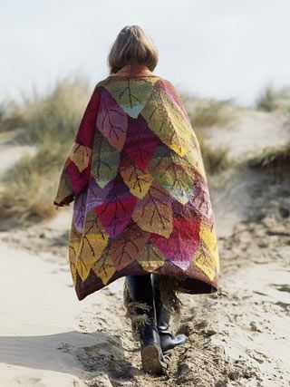 Knit coat, leaf pattern, many colors of leaves