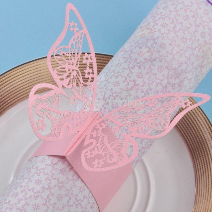 Lyserøde servietringe med flotte sommerfugle motiver til din borddækning til bryllup, fødselsdag og barnedåb.