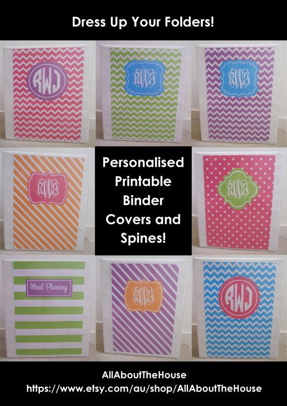 Monogram Printable Binder Cover and spine - bright rainbow colours - polka dots, stripes, chevron - preppy - back to school - personalised Available here: https://www.etsy.com/au/listing/162662267/monogram-printable-binder-cover-and
