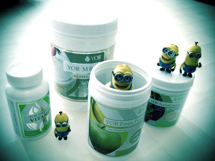Yor Vitamin, Yor FiBeR Plus, Yor Super Greens y Yor Mrp y Minions