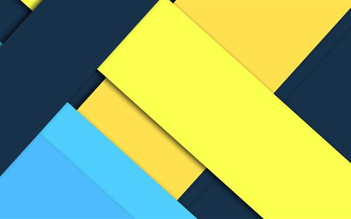 Download wallpapers yellow blue abstraction, material design, android, geometric abstractions