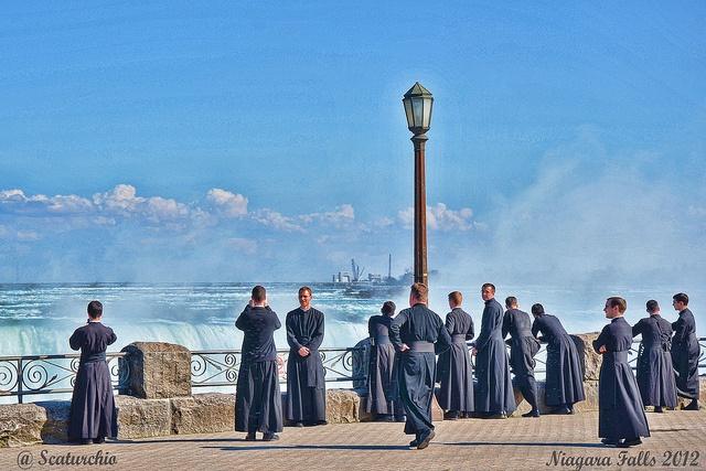 Priests hanging out at Niagara Falls