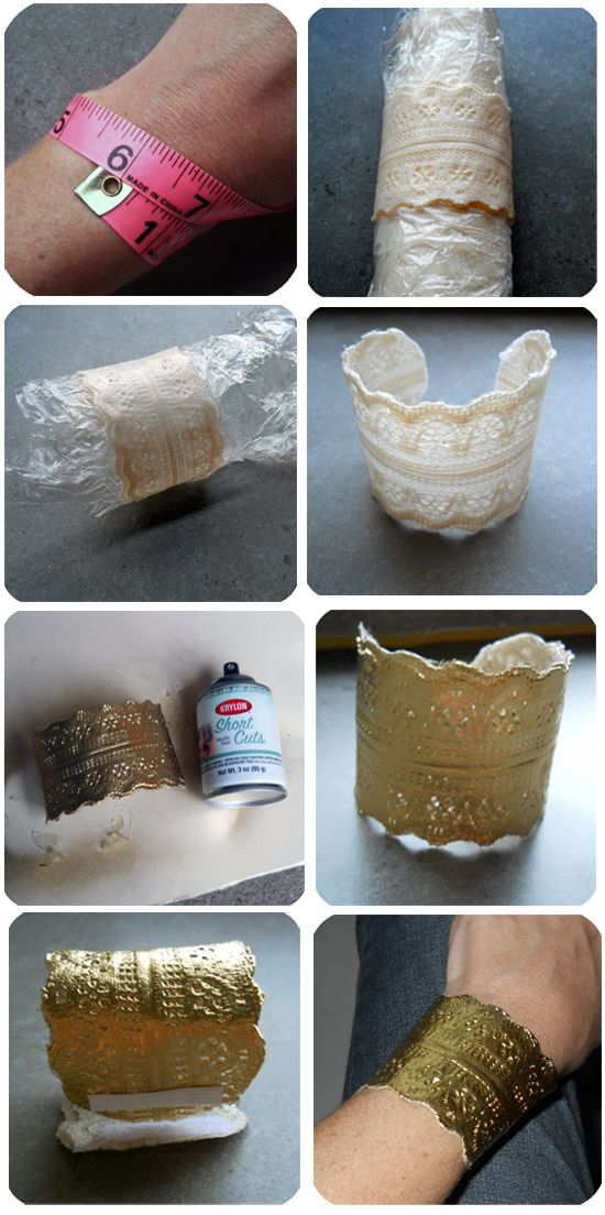 DIY: Lace Cuff Bracelet. add som crystals and could be cool. Not sure about the gold tho