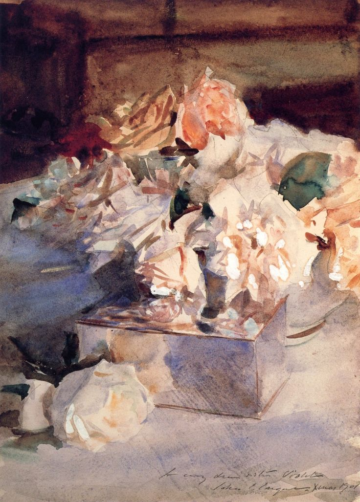 John Singer Sargent: Roses, c.1901. (am more used to his portraits -- the flowers are beautiful)