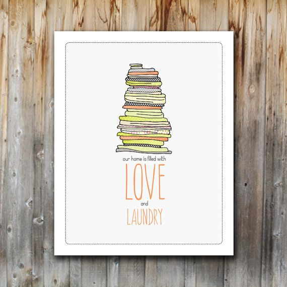 Digital Art Print: Laundry and Love, Poster, Printable, Laundry Room, Instant Download, 8x10, Modern, Eclectic