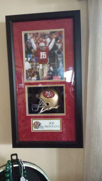 Framed Signed Joe Montana Picture