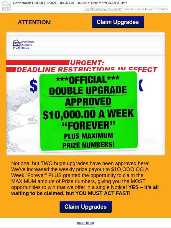 Milled has emails from Publishers Clearing House, including