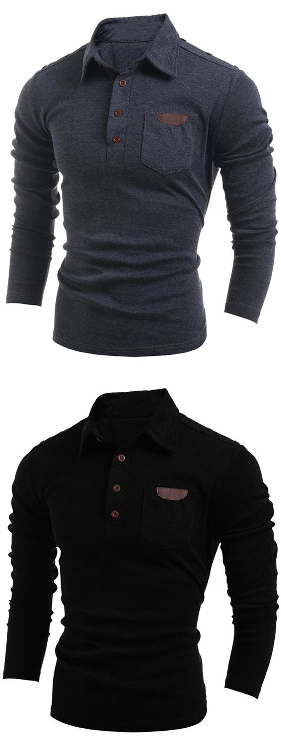 Black t shirt back and front plain - Buttoned Long Sleeve Pocket T Shirt