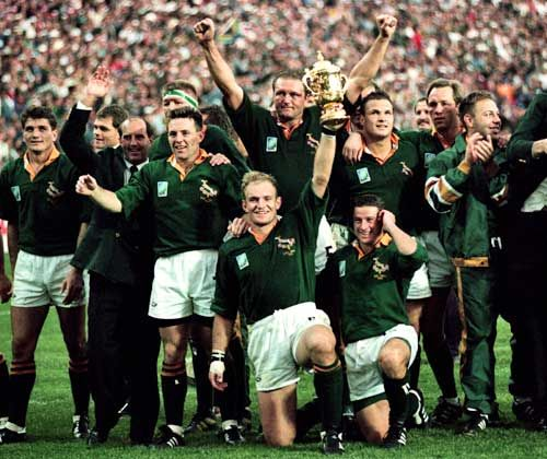 Reason: South Africa is now the only country in the world to have hosted the Soccer, Cricket and Rugby World Cup!  Photo: The Springboks, winners of the Rugby World Cup 1995 in South Africa. This event inspired the movie, Invictus, in which Matt Damon and Morgan Freeman played the leads.