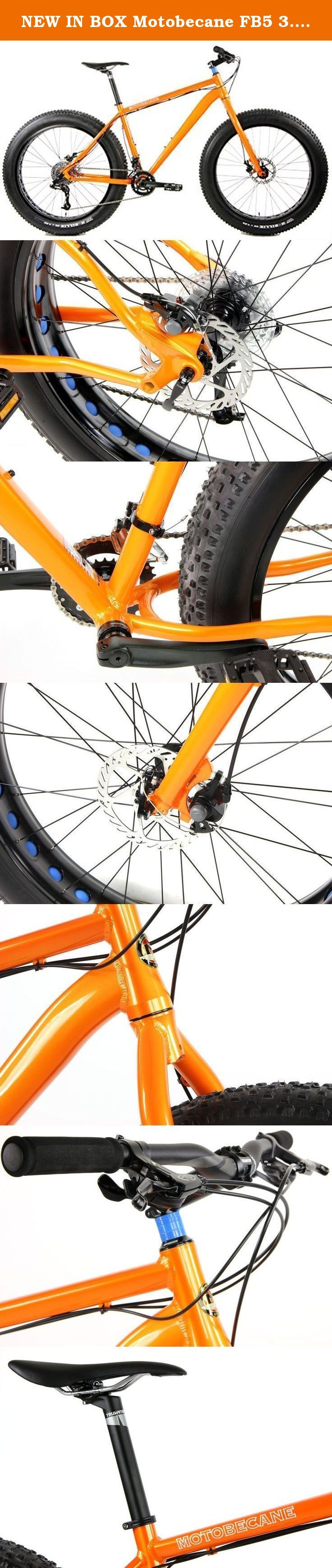 """NEW IN BOX Motobecane FB5 3.0 26 inch Wheel Bike Disc Brake Fat Bike (Orange, 19in). The hottest trend in the mountain biking world right now. Fat bikes are hard to miss. Their giant, """"fat"""" tires roll over virtually anything, which makes them an ideal winter mode of transportation. Frame Bluto Ready Frames with Tapered Headtubes, ALLOY 6061 FRAME, W/DISC MOUNT, TIG WELD, replaceable rear derailleur hanger, H2O bosses, 12x197mm Rear axle spacing Fork 26"""" RIGID FORK, ALLOY STEM, 1.5 to…"""