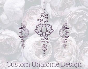 Lotus Unalome Temporary Tattoo Set by Okitssteph on Etsy