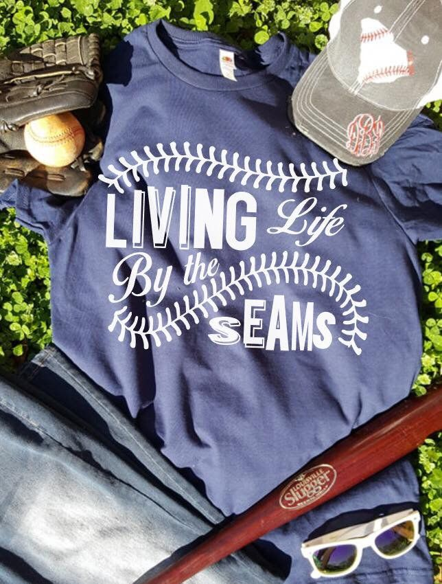 20783b14961c6a Living Life by the Seams Women's shirt T-ball, mom shirt, baseball mom, love  baseball, softball mom, momlife by VinylObsessionsAmber on Etsy