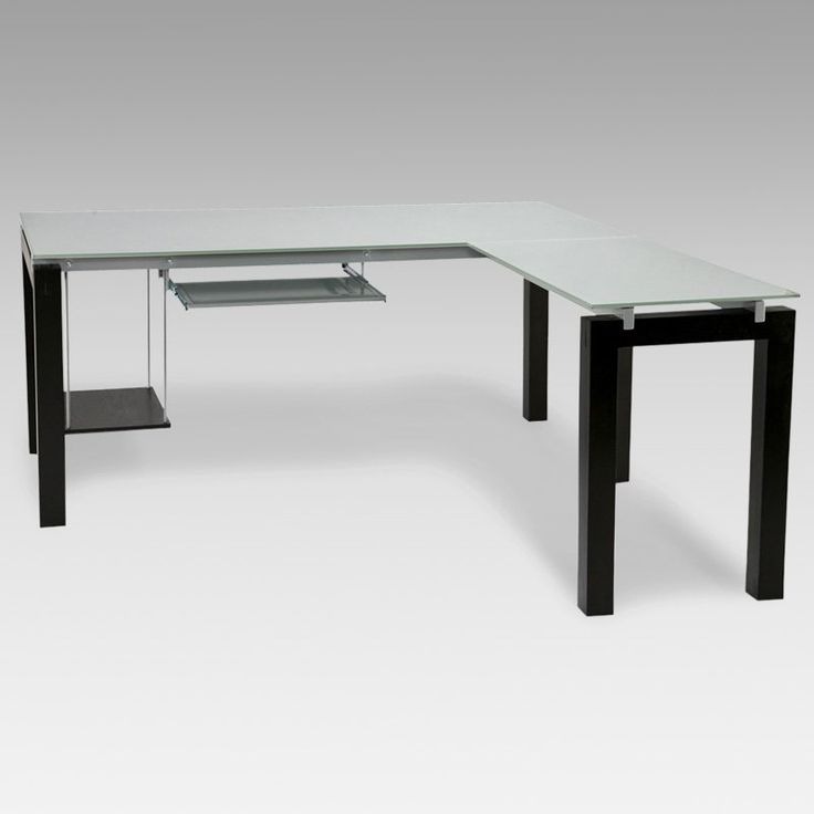 love this one euro style baretta glass l shaped computer desk with keyboard tray 800. Black Bedroom Furniture Sets. Home Design Ideas