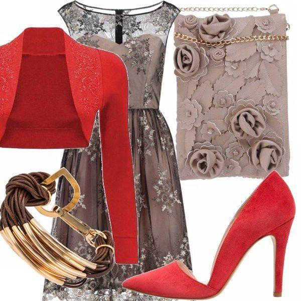 Outfit Tortora e rosso